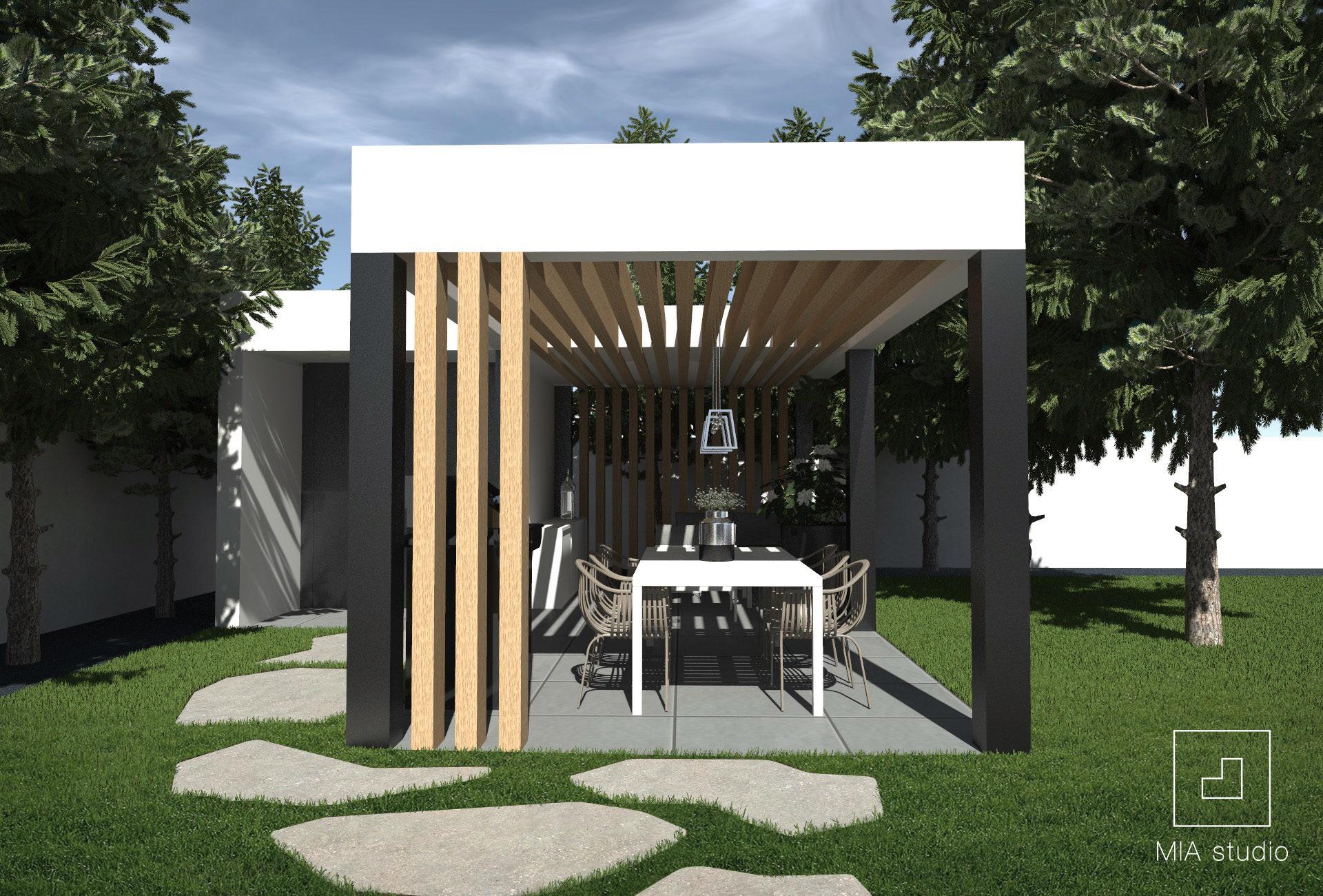 nowoczesna altana w ogrodzie